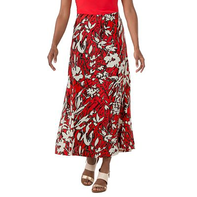 Jet Set Red Floral Long Skirt