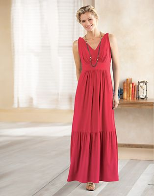Plus Size Walkabout Knit V-Neck Maxi Dress
