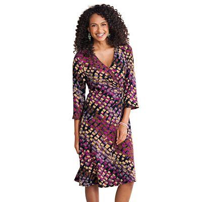 Plus Size Walkabout Knit Faux-Wrap Dress - Traditional Fit