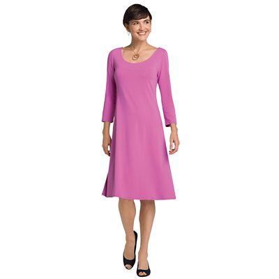 3/4-Sleeved Ballet-Neck Indispensable Travel Dress