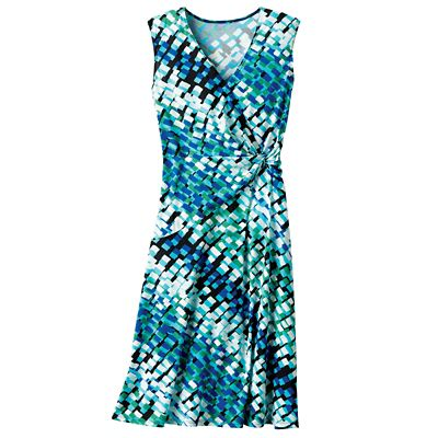 Walkabout Knit Faux-Wrap Sleeveless Dress