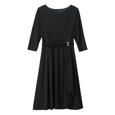 Helena Faux Wrap Dress Black