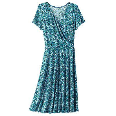 Walkabout Knit Short-Sleeve Faux-Wrap Dress