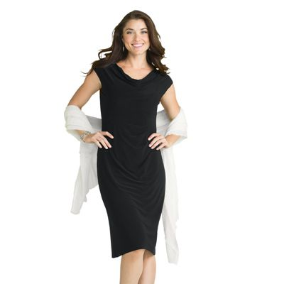 Walkabout Knit Slimmer Drape-Neck Side-Pleat Dress