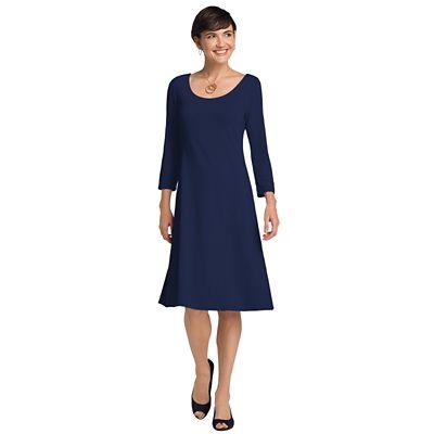 Plus Size 3/4-Sleeved Ballet-Neck Indispensable Travel Dress