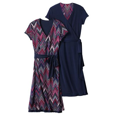 Samantha Brown Short-Sleeve Reversible Wrap Dress