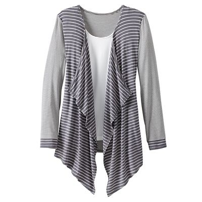 Mixed-Stripe Drape-Front Cardigan