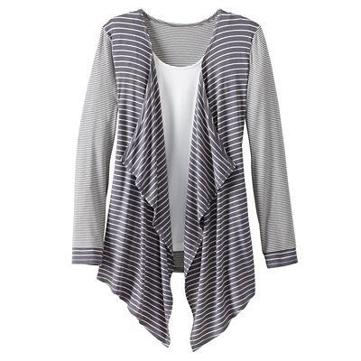 Mixed-Stripe Drape-Front Cardigan