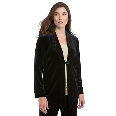 Stretch Velvet Single-Button Jacket