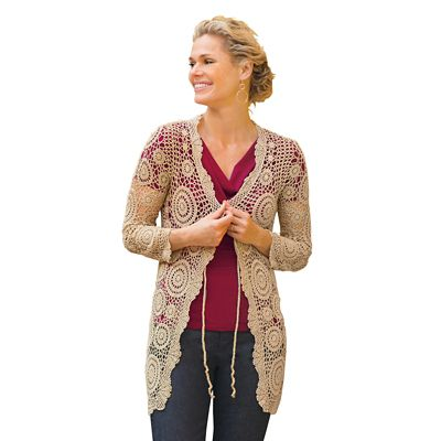 Metallic Crochet Open Cardigan