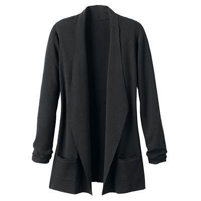 Fine-Gauge Sweater-Knit Open-Front Two-Pocket Cardigan