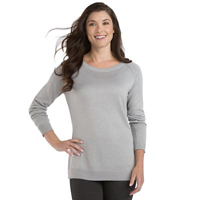 Samantha Brown Metallic Raglan-Sleeve Sweater