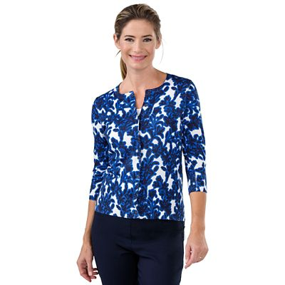 Foxcroft Blue Floral Cardigan