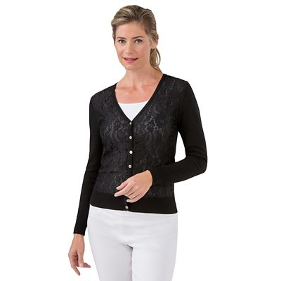 Floral Lace-Front Cardigan