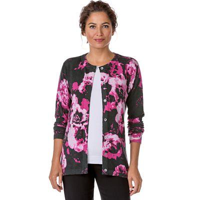 Merino-Blend Floral Print Cardigan