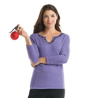 Gabriele Beaded Merino-Wool Sweater