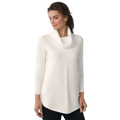Rib-Trim Cowlneck Sweater