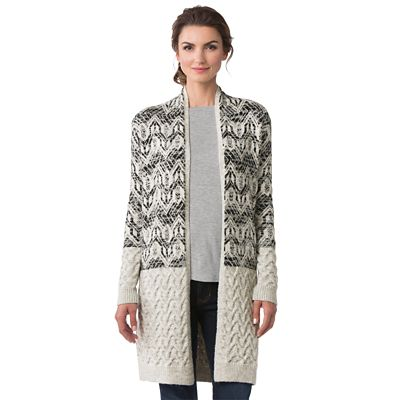 Cable-Knit Fair Isle Sweater Coat