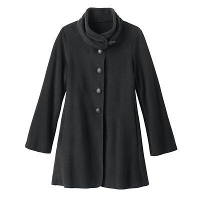 Viktoria Ruched-Collar Microfleece Coat