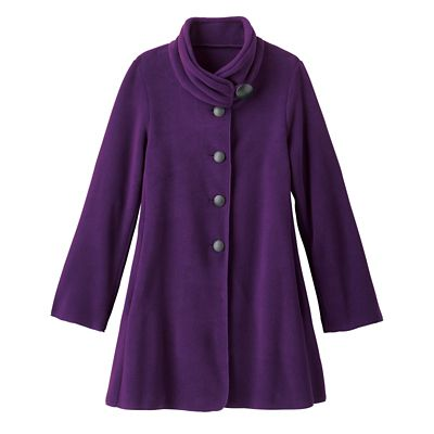 Viktoria Ruched-Collar Microfleece Coat
