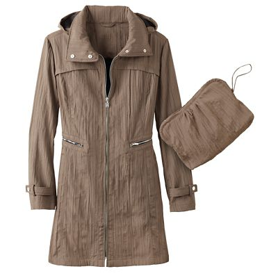 Zip-Front Crinkle Walking Coat