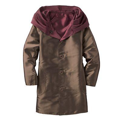 Plus Size Packable Reversible Accordion-Hood Coat