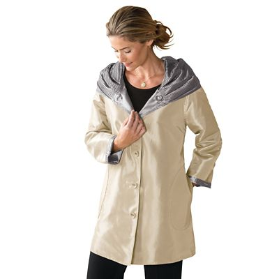 Plus Size Packable Reversible Accordion-Hood Coat
