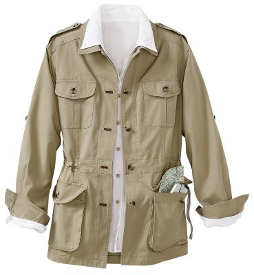 Plus Size Bush Poplin Safari Jacket