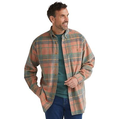 Men's Washed-Corduroy Plaid Shirt