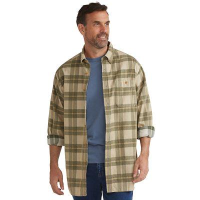 Washed-Corduroy Plaid Shirt