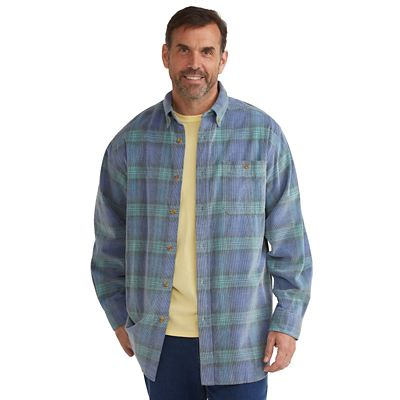 Washed-Corduroy Plaid Shirt