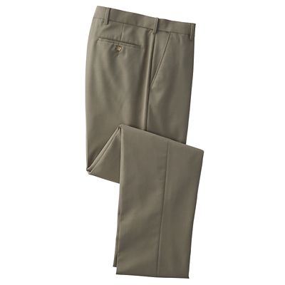 Flat-Front Flyweight Washable Wool-Blend Pants
