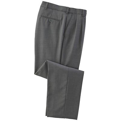 Pleated Flyweight Washable Wool-Blend Pants