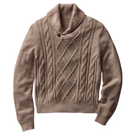 Fisherman Shawl Collar Sweater