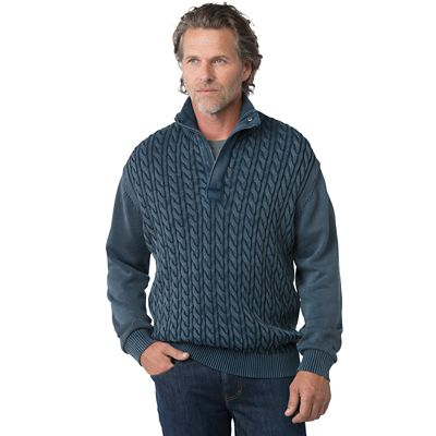 Weatherproof Cable-Knit Pullover Sweater