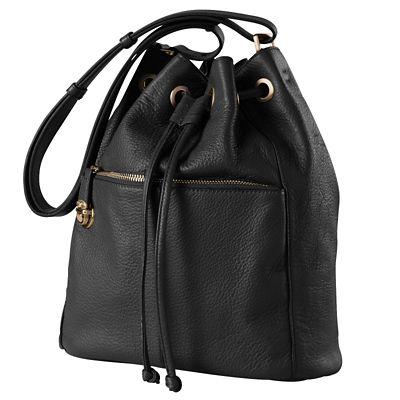 Signature RFID-Blocking Leather Bucket Bag
