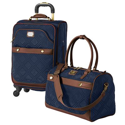 Diamond Quilt Carry-On Spinner with FREE Duffel Bag