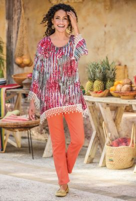 Artesana Crochet-Trimmed Tunic Outfit