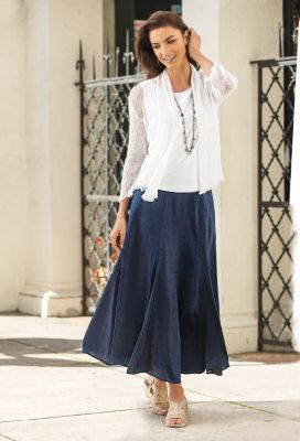 Hammered Long Skirt Outfit