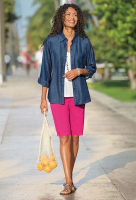 Foxcroft Tencel Denim Shirt Outfit