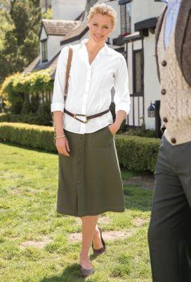 Foxcroft Non-Iron Princess-Seamed Strech-Cotton Shirt Outfit