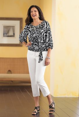 Berek for TravelSmith Zebra Print Blouse Outfit