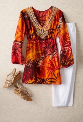 Tropical Print Tunic Outfit