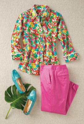 Foxcroft Wrinkle-Free Flower Garden Shirt Outfit