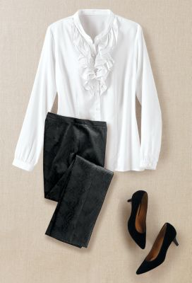 Ruffle-Neck Blouse Outfit