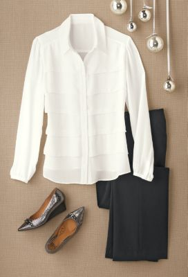 Avenue Tiered-Ruffle Shirt Outfit