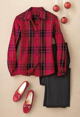 Foxcroft Wrinkle-Free Tartan Shirt Outfit