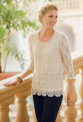 Blanca Scalloped-Lace Tunic Outfit