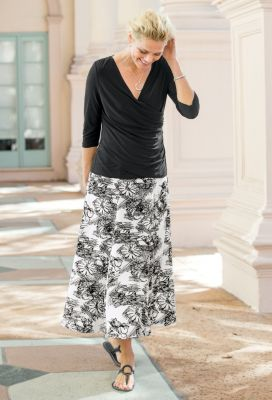 Berek for TravelSmith Long Floral Skirt Outfit