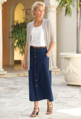 No-Hassle Linen Button-Front Skirt Outfit
